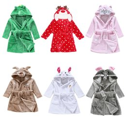 Polaire De Nuit Pas Cher-8styles Enfant Cartoon animal Hoodie Coral Toison Peignoir Unisexe Enfants mignon animal Robe Pyjamas Pyjamas Flanelle Night-gown Fall Winter