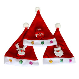 Wholesale Material For Hats NZ - Santa Snowman Reindeer Kids Christmas Hat Christmas Gifts for Children Mew Year Gift Cotton Material Comfortable Quality Assurance
