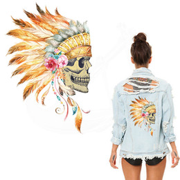 Discount skull hoodies wholesale - Popular American Indian style Feathers Skull stickers Patches Iron-on Transfers DIY T-shirt Hoodies Patches For Clothes