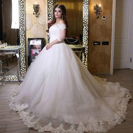 Ball Gown Wedding Dresses Corset Back Canada - 2016 Gorgeous Arabic Wedding Dress Puffy Ball Gown Off the Shoulder Lace Appliques Top Corset Back Bridal Gowns Custom Made Bride Wear Train