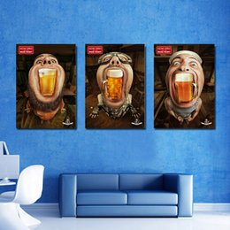 Canvas Print Pieces Australia - Hot Sell 3 Piece Canvas Modern Triptych Wall Painting Wacky BEER Comics Home Decorative Art Picture Paint on Canvas Prints 24in*16in *3pcs