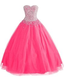 Robe De Soirée Pas Cher-Version officielle 2016 Cristaux de luxe perlés Sweetheart Tulle Longue robe de soirée Ball Gown Lace-up Princess Prom Party Gown