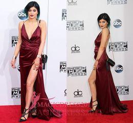 $enCountryForm.capitalKeyWord Canada - Kylie Jenner 2019 Burgundy Plunging Backless A-Line Deep V-Neck High Split Celebrity Prom Dresses AMERICAN MUSIC Cheap