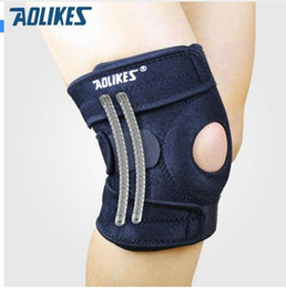 Discount knees protector - piece AOLIKES Mountaineering knee pad with 4 springs support cycling knee protector Mountain Bike Sports Safety kneepad