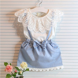 Wholesale sleeveless denim chiffon dress resale online - Girl Lace bowknot braces denims dress suits Summer Chiffon Lace cotton Sleeveless T shirt Short skirt dress suit baby clothes