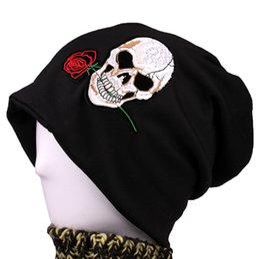 $enCountryForm.capitalKeyWord Canada - New arrival 2 Use Cap Knitted Scarf & Winter Hats for Women Skull rose Beanies Women Hip-hot Skullies girls Gorros women Beanies