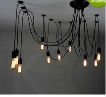 suspended office lighting Canada - 14 bulbs flexable light Edison Ancints Vintage Chandeliers DIY Ceiling Pendant suspended lamp Tiannvsanhua wrought iron chandelier