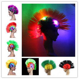 hair fashions wigs 2019 - Multicolor LED Mohawk Hair Wigs Fashion Football Soccer Fans light up Punk Wig Performance Cosplay Party Wigs for Hallow