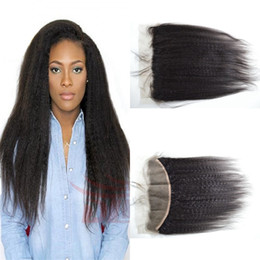 italian yaki lace closure 2019 - Cheap Mongolian kinky Straight Lace Frontal Closure With Baby Hair 13X4 Virgin Human Hair Full Lace Frontal coarse itali
