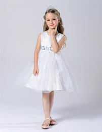 Casquettes Personnalisées Pas Cher-2016 filles New Summer Fashion Flower Girl Bridesmaid bébé Princesse Pageant Jewel Cap manches souple Tulle Custom Made Party Anniversaire de mariage d