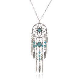 efe739f2fd26 Collar de la llama de la hoja de Dreamcatcher Collar de la turquesa Bolas  de la borla Collar de Boho Collar de la declaración de la joyería étnica de  ...