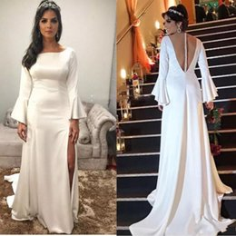 Pagoda sleeves dress online shopping - Side Split Long Sleeves Prom Dresses Sleeves Pagoda Sleeves Cheap Party Dresses Evening Wear Sheer Back Covered Buttons Formal Vestidos