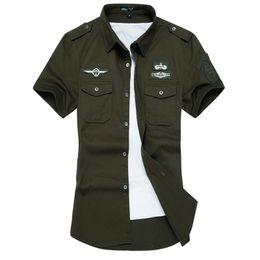 Ingrosso All'ingrosso-New Summer Men camicia di cotone di alta qualità manica corta camicie esercito camicia uomo camicie casual abbigliamento maschile M-6XL