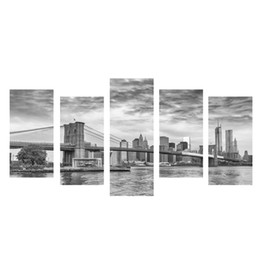 wall art home bridges UK - Giclee Canvas Prints Modern Artwork the Brooklyn Bridge 5 Panels Landscape Pictures Paintings on Canvas Wall Art for Home Decor No Frame