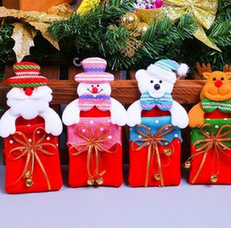 Discount snowman decorations - Christmas decorations Children gift bag Christmas tree hanging Christmas gift bag cartoon santa snowman elk bear bags DH