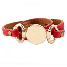 Blank cuff Bracelets online shopping - New Style Monogram Leather Cuff BraceletTrendy With Blank Disk Layer Wrap Leather Bracelet infinity
