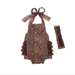 Barato Mamã Do Leopardo Do Bebê Dos Meninos-Summer Cotton Boys Girls Baby Rompers Lace Leopard Baby Onesies Newborn Romper Vestuário Toddler Jumpsuits Infant Clothes Wholesale