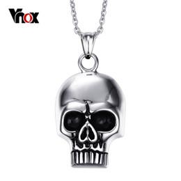 $enCountryForm.capitalKeyWord UK - Skull Skeleton Shape Pendants & Necklaces for Men Punk Stainless Steel Pendant Mens Charm Jewelry Free 20 inch Chain