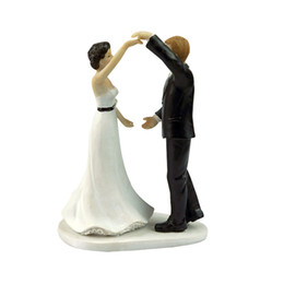 anniversary party decorations UK - Wedding Cake Topper with Bride and Groom Couple Figurine Dancing with You Cake Decoration for Wedding Anniversary Party