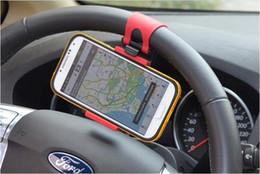 Car Universal Gps Box Canada - Universal Car Streeling Steering Wheel Cradle Holder SMART Clip Car Bike Mount for Mobile iphone samsung Cell Phone GPS +Retail box US03