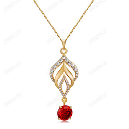 fashion torch NZ - Brand Cason Women Fashion Jewelry Torch red zircon crystal Pendant Necklaces 18K Gold Plated Red Colour Drop Shipping NJ-0026
