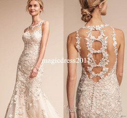 $enCountryForm.capitalKeyWord NZ - Bhldn Fall 2019 Mermaid Wedding Dresses Elegant Jewel Neck Embroidered Straps Heavily Embellished Lace Bodice Vintage Garden Bridal Gowns