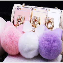 Diamond Ball Hair Canada - Mirror Bow phone Case for Iphone 8 5 5S 6 6S Plus 7 7 plus for Samsung S6 Edge S7 S7 Edge S8 Soft Diamond Detachable Real Rabbit hair ball