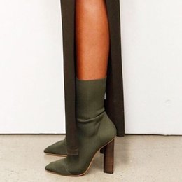 High Fashion Knit Fabric Canada - 2016 green nude pointy toe stretch knit Boots chunky Heel ankle Boots In Beige Knit elastic sock High Knit Boots
