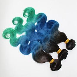 $enCountryForm.capitalKeyWord Canada - 8A Three Tone Ombre Body Wave Human Hair 3Bundles Malaysian Ombre Wavy Hair Weaves #1B Blue Green Ombre Malaysian Hair