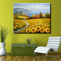 1 Picture Combinati Style Home Decorative Pastoral Countryside Scenery  Impressionist Arts Oil Painting Sunflower Field For Living Room Paintings  Countryside ... Part 42