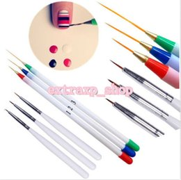 Discount nail tools french brush - 6PCs Set Acrylic French Nail Art Pen Brush Painting Drawing Liner Manicure Tools