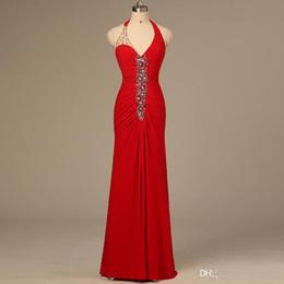 $enCountryForm.capitalKeyWord Canada - Red Elegant Sexy Long Ladies Formal Tuxedo Halter White Rhinestone Sheath evening dressess Party Dress 2016 Bride Celebrity Gowns QW709