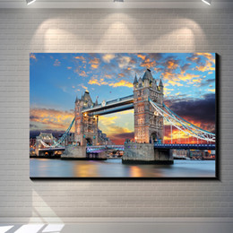 $enCountryForm.capitalKeyWord Canada - Under the clouds of London's tower bridge Vintage Pictures Painting Canvas Poster Painting Print Hotel Bar Garage Wall Home Art Decor Poster