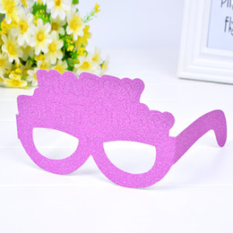Glitter papers online shopping - Three Colors Glasses Creative Happy Birthday Glitter Paper Eyeglass Funny Party Decoration Supplies Spectacles Gift hq B R