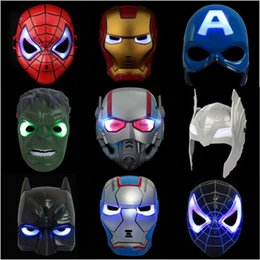 Discount super heroes face masks - Avengers LED Flash Glowing Masks Super Hero Captain America Spiderman Iron Man Lighting Mask Kids Halloween Cartoon Part
