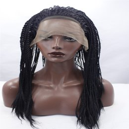 Black women hairstyles Braids online shopping - lace front wigs Africa american braided lace wig heat resistant synthetic frontal hair long micro braided wigs for black women Black hair