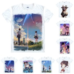 T Shirts Style NZ - Anime Shirt Your Name Kimi no Na wa T-Shirts Multi-style Short Sleeve Tachibana Taki Miyamizu Mitsuha Cosplay Motivs Hentai Shirts
