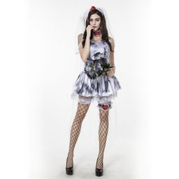 Cosplay Sexy Mariée Pas Cher-Halloween Ghost Bride Robe Sexy Vampire Love patch Robe Zombie Sorcière Costume Costume Cosplay Party Femme