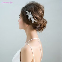 Wedding accessories hair pieces online shopping - beijia Simple White Flower Bridal Hair Comb Fashion Wedding Hair Piece Accessories Bridesmaid Headpiece Women Jewelry