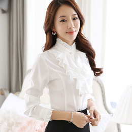 Élégante Manche Longue Rétro Pas Cher-Ruffle Blouse Women 2016 New Fashion Stand Collier Ruffle Cuff à manches longues White Tops Elegant Ladies Office Work Wear Retro Chemises en mousseline de soie