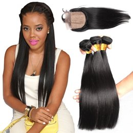 $enCountryForm.capitalKeyWord Canada - 9A Peruvian Human Hair Silk Base Closure With Bundles 4Pcs Lot 100% Unprocessed Silky Straight Hair 3 Bundles With Silk Top Lace Closures