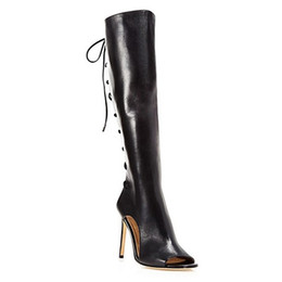 $enCountryForm.capitalKeyWord UK - 2016 Black Boots Lace Up Fashion Summer Style Ladies Party Shoes High Thin Heels Peep Toe Cheap Modest Boots For Womens New Arrive