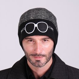 Knitted hat patterns for women online shopping - Fashion Winter Hat For Men And Women Wool Knitted Hedging Caps Cartoon Glasses Pattern Double Colors Beanies br B