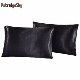 Wholesale Pillow Case Russia US Size pair Satin Solid Color Silk Pillowcases Pillow case Pillow shams Bolster Twin Queen Cal King R