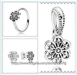 925 Pendientes de aro de plata esterlina y conjuntos de colgantes de dijes de joyería con estuche para joyería europea Pulseras Collares- Margarita floral en venta