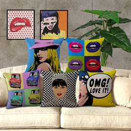 Wholesale Oil Painting I Love It Lips pillow Case Cushion cover linen cotton Throw Pillowcase Cover Home sofa beddng sets Decor Christmas gift