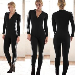 Barato Manga Comprida Mulheres M-Deep V-Neck Sexy Bodycon Jumpsuit Mulheres Turn-down Collar Full Sleeve Romper Novo Casual Side Striped Zipper Long Overalls