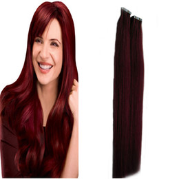 dark red human hair extensions UK - #99J Red Wine Use of human hair Skin Weft brazilian Straight tape in hair extensions human hair 100g 40pcs
