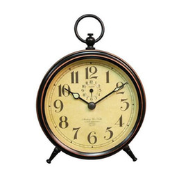 table clock mechanical Canada - Lazy Retro Metal Mechanical Clockwork Small Alarm Clock Silent Small Table clock portable No batteries 10Pcs
