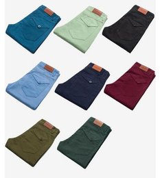 Barato Calças Casuais Elegantes Para Homens-Vendas populares Young Boy Straight Pencil Stretch Jeans Candy color Calças Top Elegante Men's Casual Pants Large Chinos trabalhando Casual Calças